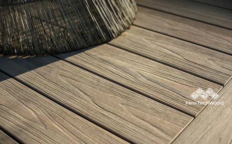 wood-toned composite deck